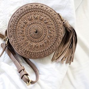 Braided Circle Crossbody Bag Fringe Handbag